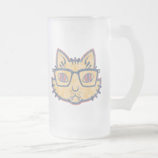 Cat Nerd Frosted Glass Mug