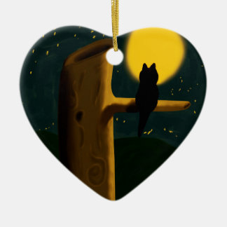 Cat night ceramic heart decoration