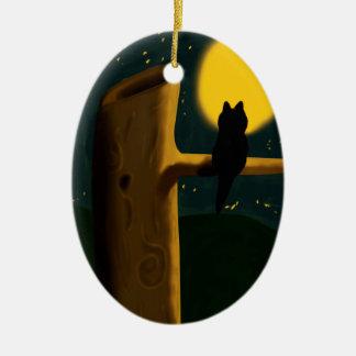 Cat night ceramic oval decoration