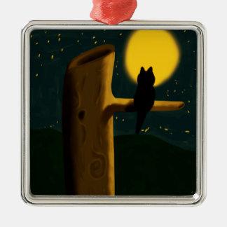 Cat night Silver-Colored square decoration