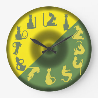 CAT NUMBERS green yellow by Slipperywindow Large Clock