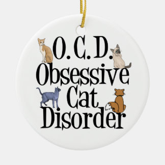 Cat Obsessed Double-Sided Ceramic Round Christmas Ornament