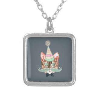 Cat obsession silver plated necklace