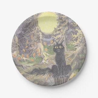 Cat of Black Cat on Fence Plate 1 Paper Plates 7 Inch Paper Plate
