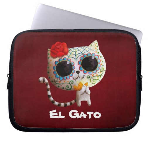 Cat of Day of The Dead Laptop Sleeves