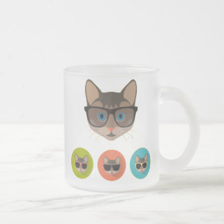 Cat of Glasses Frosted Glass Coffee Mug
