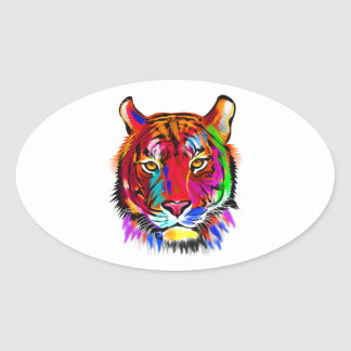Cat of many colors oval sticker