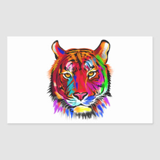 Cat of many colors rectangular sticker