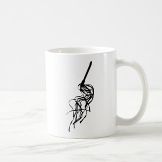 Cat of Nine Tails S&M Whip Outline Silhouette Coffee Mug