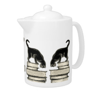 Cat on a Stack of Books Teapot