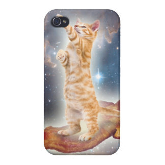Cat on bacon in space iPhone case