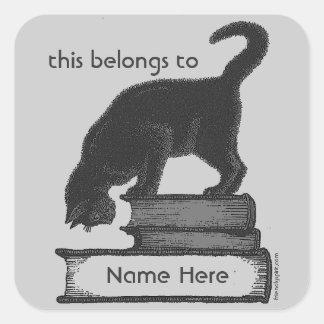 Cat on Books Label