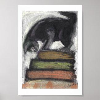 Cat on Books - Print of Original Pastel Painting