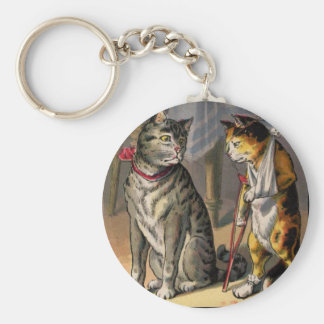 Cat on Crutches Basic Round Button Key Ring