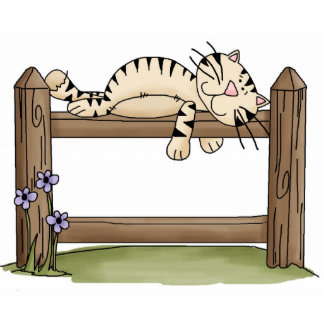 Cat on Fence Ornament Photo Cutout