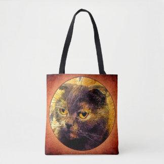 Cat on grunge background. tote bag
