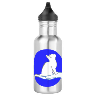 Cat on hand, blue circle 532 ml water bottle