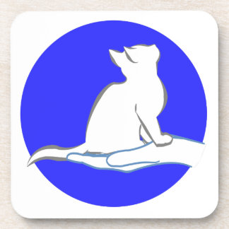 Cat on hand, blue circle drink coasters