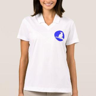 Cat on hand, blue circle polo shirt