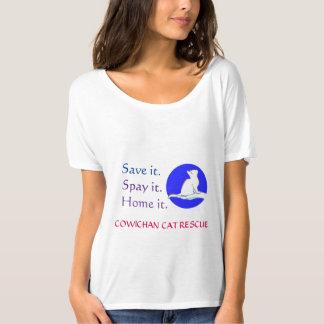 Cat on hand, blue circle T-Shirt