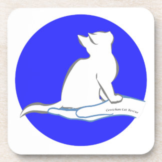 Cat on hand, text, blue circle drink coaster