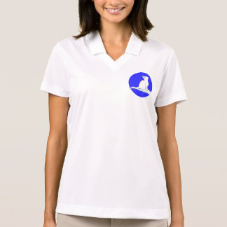 Cat on hand, text, blue circle polo shirt
