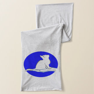 Cat on hand, text, blue circle scarf