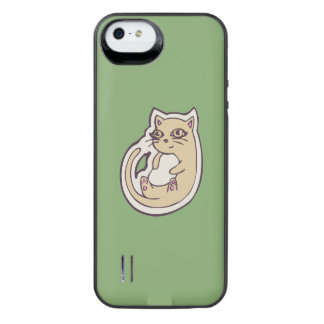 Cat On Its Back Cute White Belly Drawing Design iPhone SE/5/5s Battery Case