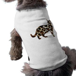 Cat On My Back Cheetah  Bling Ripped Dog T-shirt