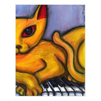 Cat On Piano Postcard