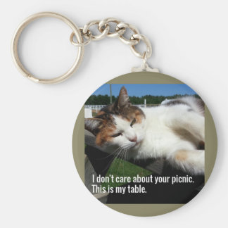 Cat On Picnic Table Key Ring
