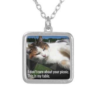 Cat On Picnic Table Silver Plated Necklace