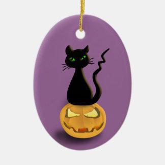 Cat on Pumpkin Halloween Hanging Ornament