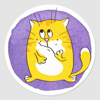 Cat on Purple Watercolor Background Sticker Set
