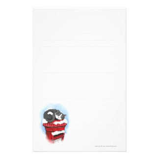 Cat on Snowy English Post Box - Lined Stationery