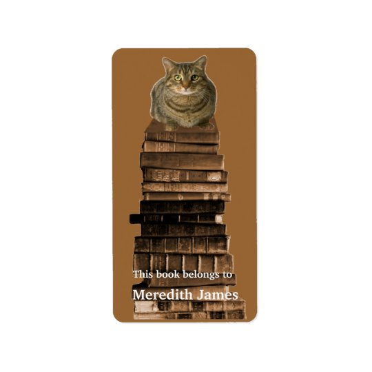 Cat on Stack of Books  Bookplate Address Label