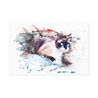 Cat on stone - work of art, water color, canvas print