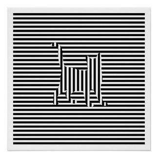 Cat on Stripes Poster