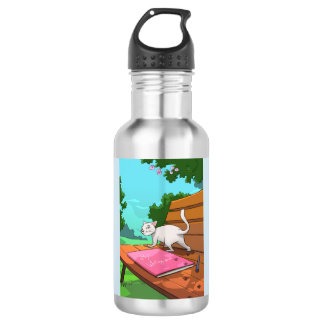 Cat on the Bench design Water Bottle