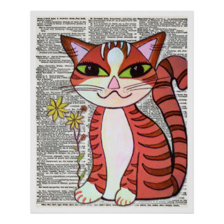 Cat on Vintage Dictionary Page Poster