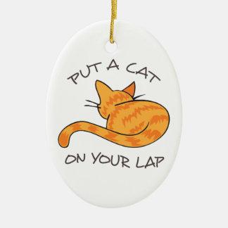 CAT ON YOUR LAP CERAMIC OVAL DECORATION