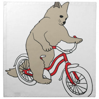 Cat On Youth Bike Napkin