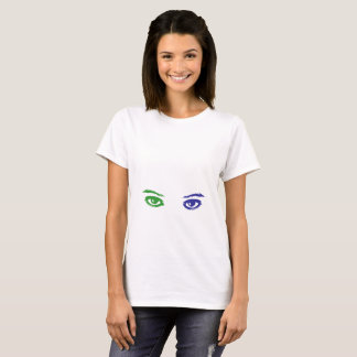 Cat or Woman? Blue and Green eyes T-Shirt