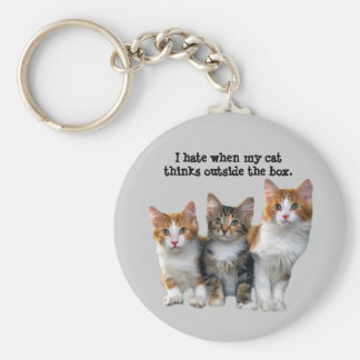 Cat Outside The Box Keychain