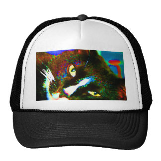 cat painting tuxedo colorful kitty animal design trucker hats