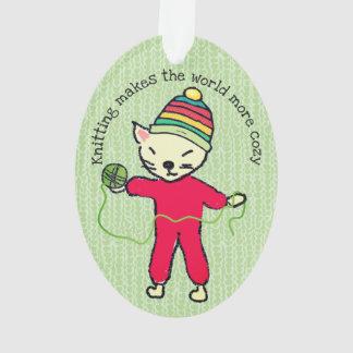 Cat pajamas knitting crochet Christmas ornament
