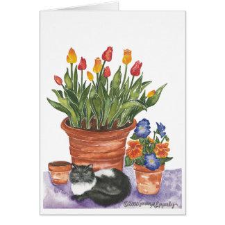 """Cat Pansies Tulips Watercolor """"Penelope"""" Greeting Card"""