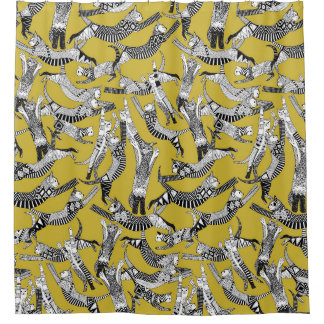 cat party ochre yellow shower curtain