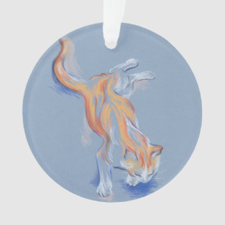Cat Pastel Orange and White Tabby on Blue Ornament