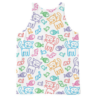cat pattern All-Over print tank top